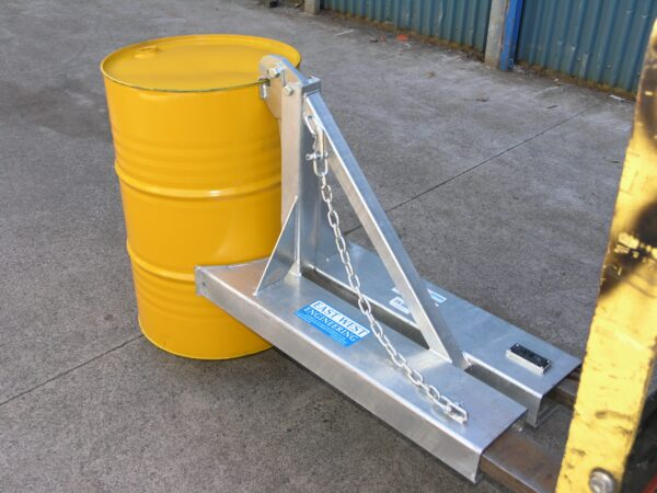Forklift BGN1 Drum Lifter Attachment in use