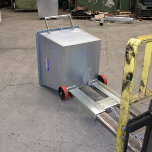 tipping bin forklift attachment in tipped position